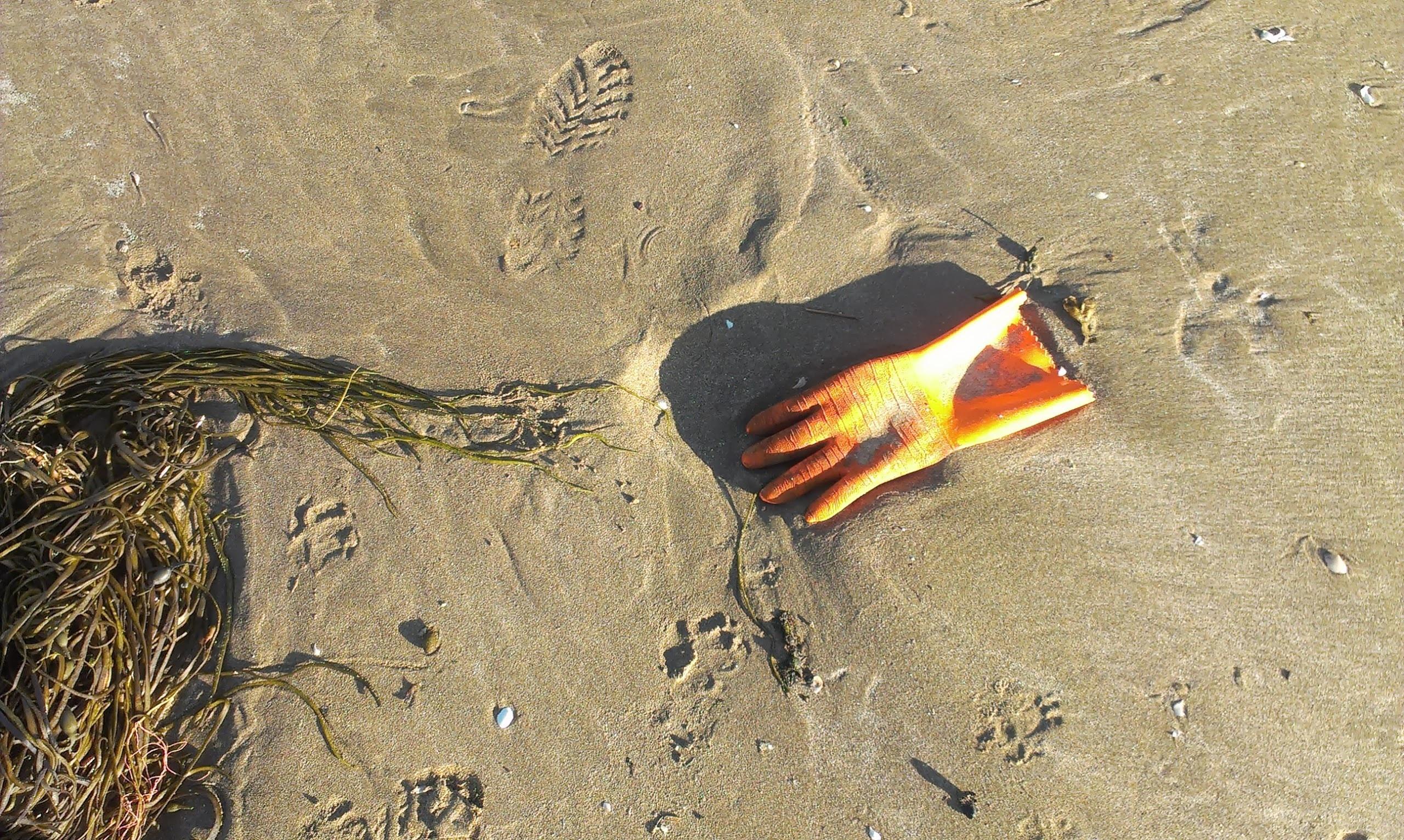 orange rubber glove